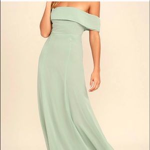 Lulu's | Sage Green Off-the-Shoulder Maxi Dress